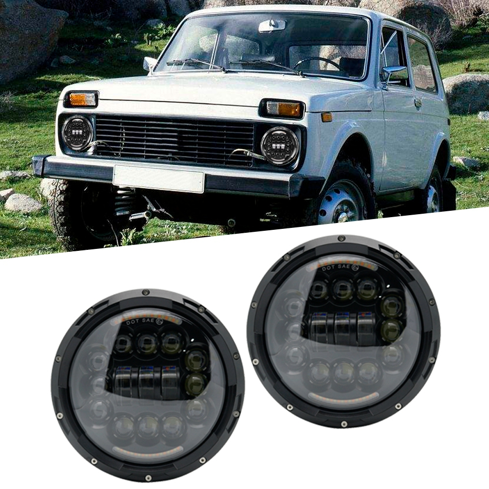 2Pc 7 Inch H4 LED Headlights moto Lamp With DRL 7 Round Headlamp For Jeep JK