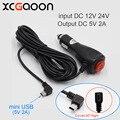 Nueva Curva de mini USB Cargador de Coche para el Coche Dvr/GPS/Pad, entrada de CC 12 V-24 V Salida 5 V 2A, Longitud del cable 3.5 m 11.48ft