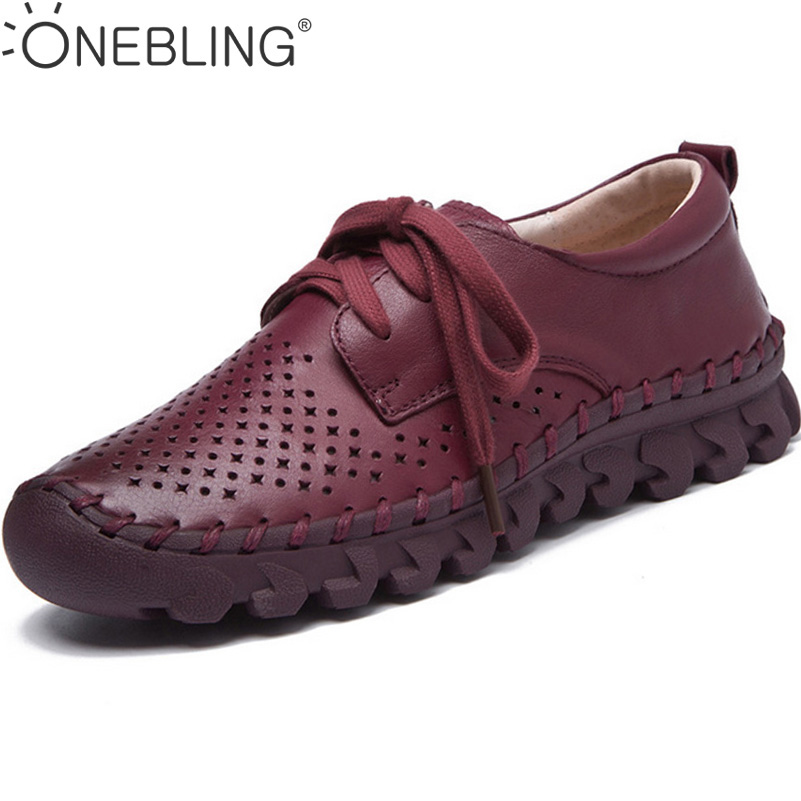 Size 35-40 Women Casual Shoes 2017 Spring Summer Fashion Genuine Leather Hollow Breathable Soft Sewing Shoes Lace up Flat Shoes ...