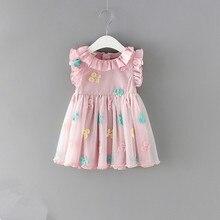 Bebê meninas vestido 100% algodão cereja bordado puff manga rendas infantil bebê recém nascido vestidos de baile 0 2y