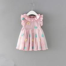 Dziewczynek sukienka 100% bawełna Cherry haft bufiaste rękawy koronki niemowlę noworodka piłka dla niemowląt suknia wieczorowa 0 2Y