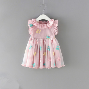 Image 1 - Dziewczynek sukienka 100% bawełna Cherry haft bufiaste rękawy koronki niemowlę noworodka piłka dla niemowląt suknia wieczorowa 0 2Y
