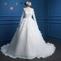 Rose Moda Bateau Cổ Dài Ren Ống Organza Bóng Gown với Hoa 3D Low V Trở Lại Chantilly Lace Corset Bất hình ảnh