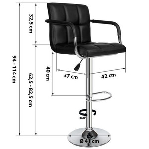 Image 5 - 2 Pcs Swivel Bar Stools Modern Height Adjustable Chair Bar Stool Bar Chairs with Footrest Barstool with Armrests HWC