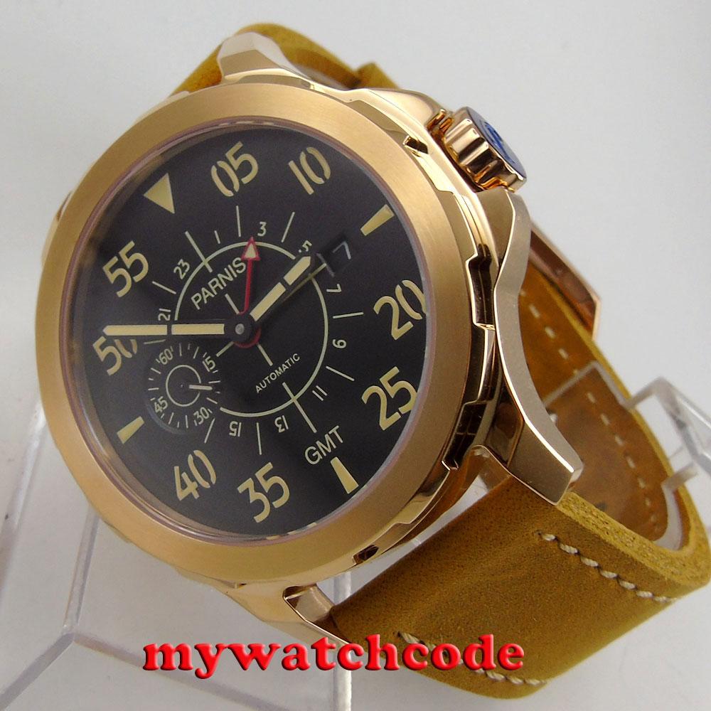 44mm Parnis black dial Sapphire glass GMT ST 2557 Automatic Men's Watch 776 цена и фото