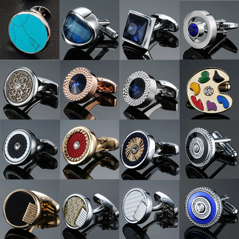 Brand New Luxurious Design Hand Carving Grinding Round Zircon Crystal Cufflinks High-end Men's French Shirt Cuff Cufflinks