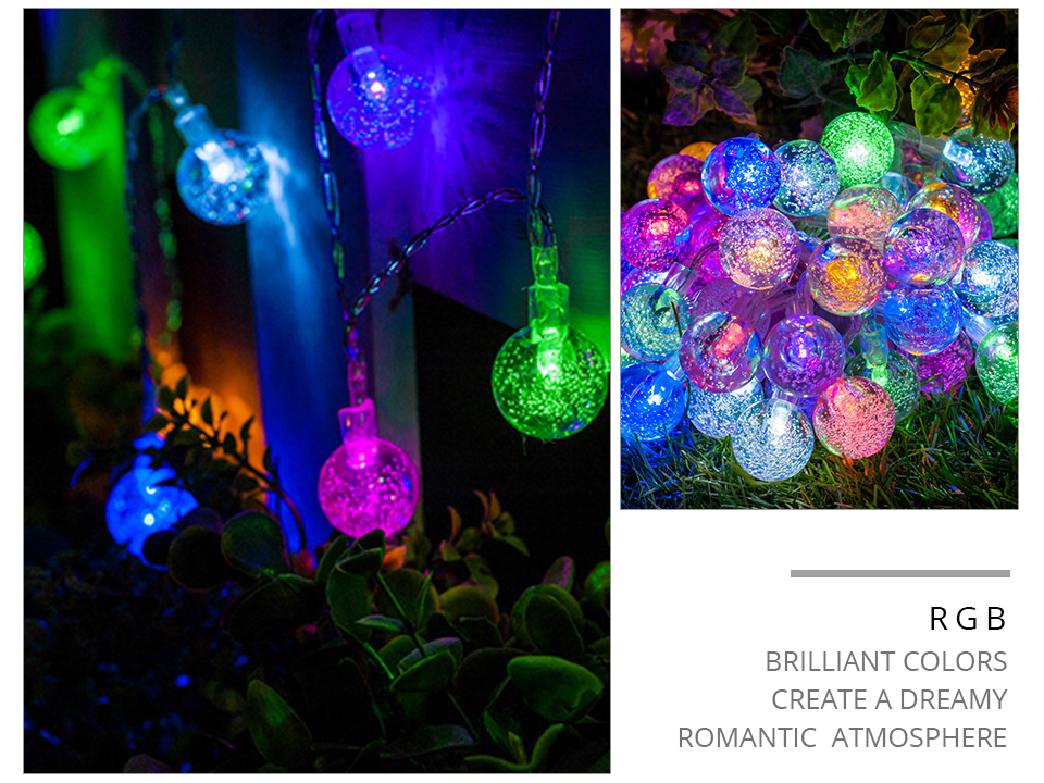 Solar LED String Lights Garland Outdoor 3050 LED Ball Hollow Christmas Trees Garden Party Decor String Fairy Light Ball Chain (14)