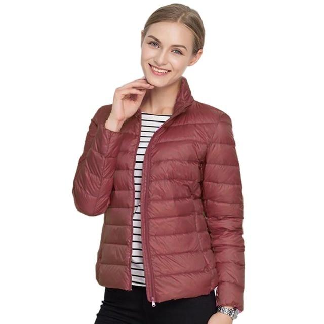 55e4bd1a8a7 2019 Winter Women Brand 90% White Duck Ultra Light Down Jackets Women  Autumn Warm Down Coat Short Jacket Female Zip Pocket Parka