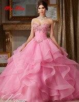 Vestidos de 15 Anos бисера тюль розовые платья Quinceanera 2019 недорогие подростковые платья сладкий платья для женщин дебютантка платья