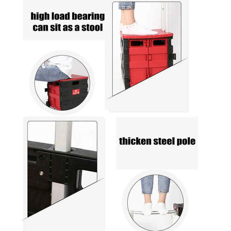 Бытовая корзина с резиновым колесом, складная тележка для покупок с крышкой, PP материал отечественная тележка с регулируемой ручкой