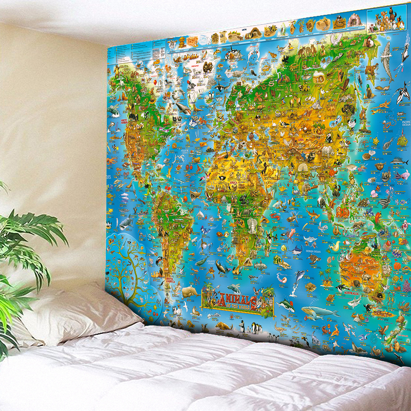 Animal And World Map Tapestry Children's Bedroom Beding Decoration Large Wall Hanging Beach Throw Towel Wall Carpet