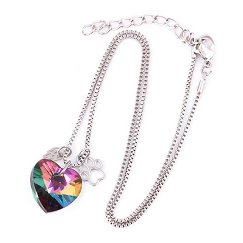 Wings Hollow Dog Claw Heart Colorful Glass Pendant Necklace Crystal Pendant Necklace 2018 Rainbow Color Pendants Paw For Lover