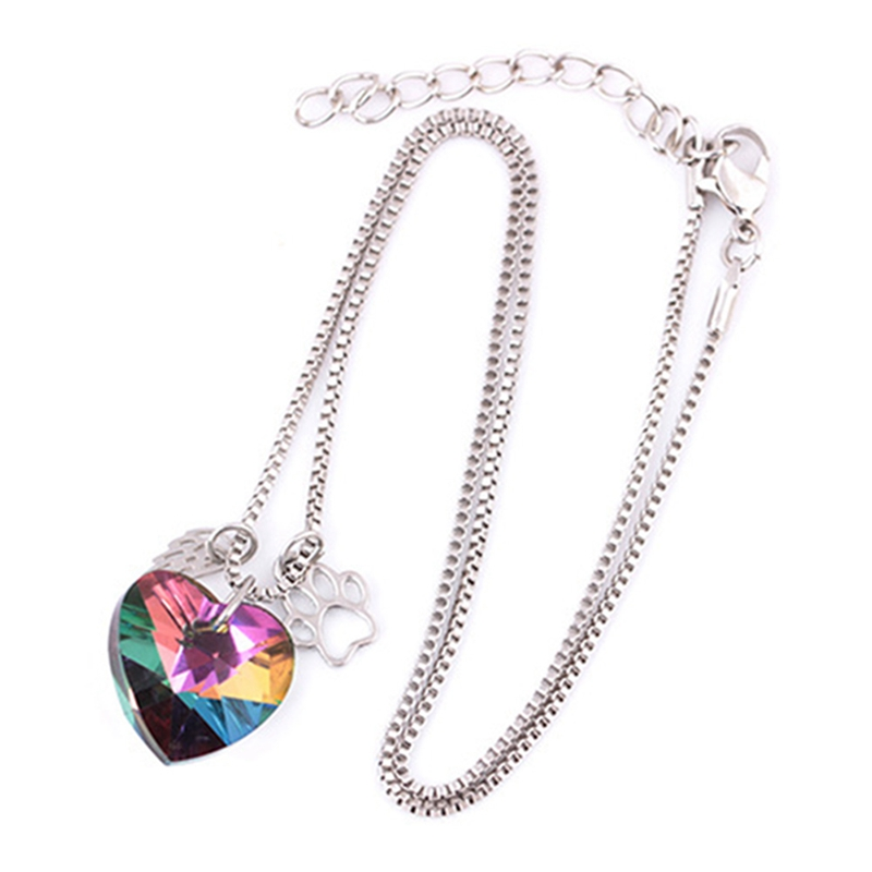 Wings Hollow Dog Claw Heart Colorful Glass Pendant Necklace