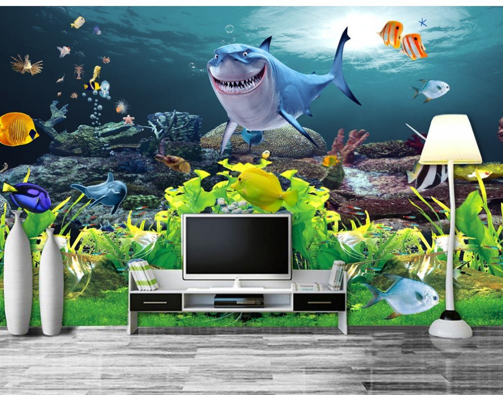 Custom 3d photo wall paper Sharks Underwater