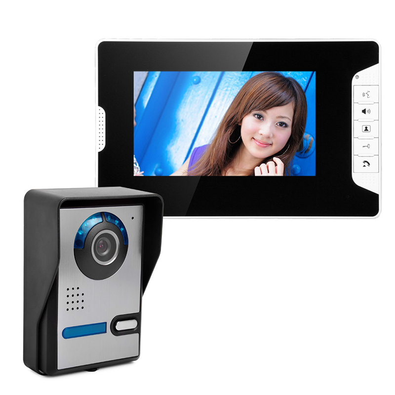 HD 7 TFT color Video Door Phone Intercom Doorbell Wired intercom equipment Home Security Camera Monitor Night Vision system tmezon 4 inch tft color monitor 1200tvl camera video door phone intercom security speaker system waterproof ir night vision 4v1