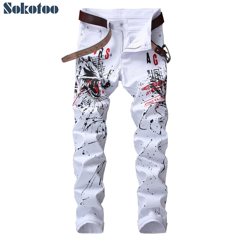 Sokotoo Men's wolf printed white   jeans   Fashion casual slim colored drawing stretch pants