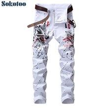 Sokotoo erkek kurt baskılı beyaz kot Moda rahat ince renkli çizim streç pantolon