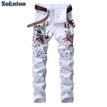 Sokotoo masculino lobo impresso branco jeans moda casual magro colorido desenho calças de estiramento