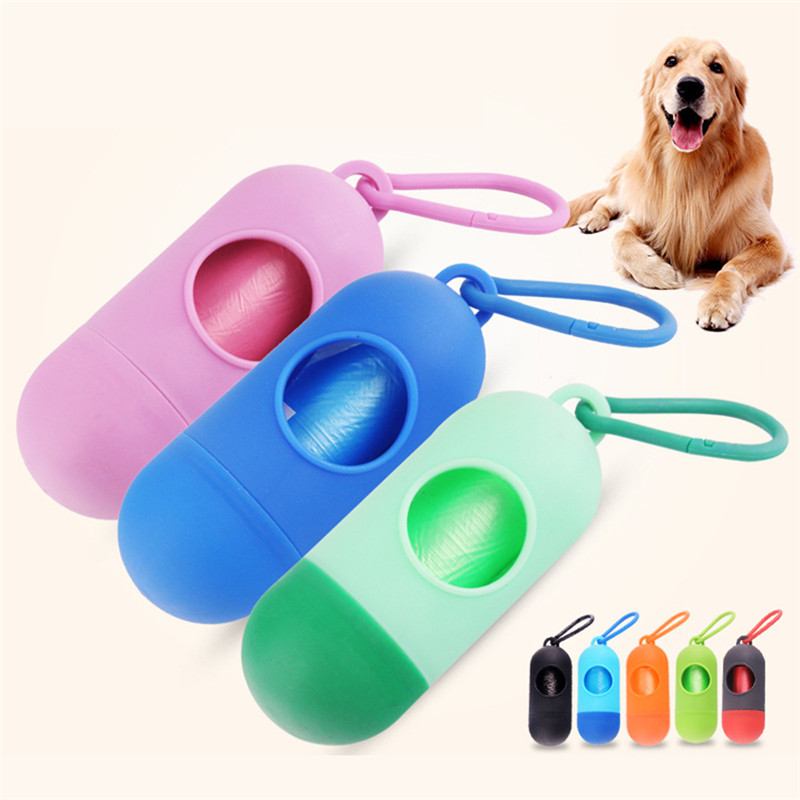 New Pill Shape Pet Dog Poop Bag Dispenser Waste Garbage Bags Carrier with 1 Roll Cat Dog Waste Poop Bag for dogs 1