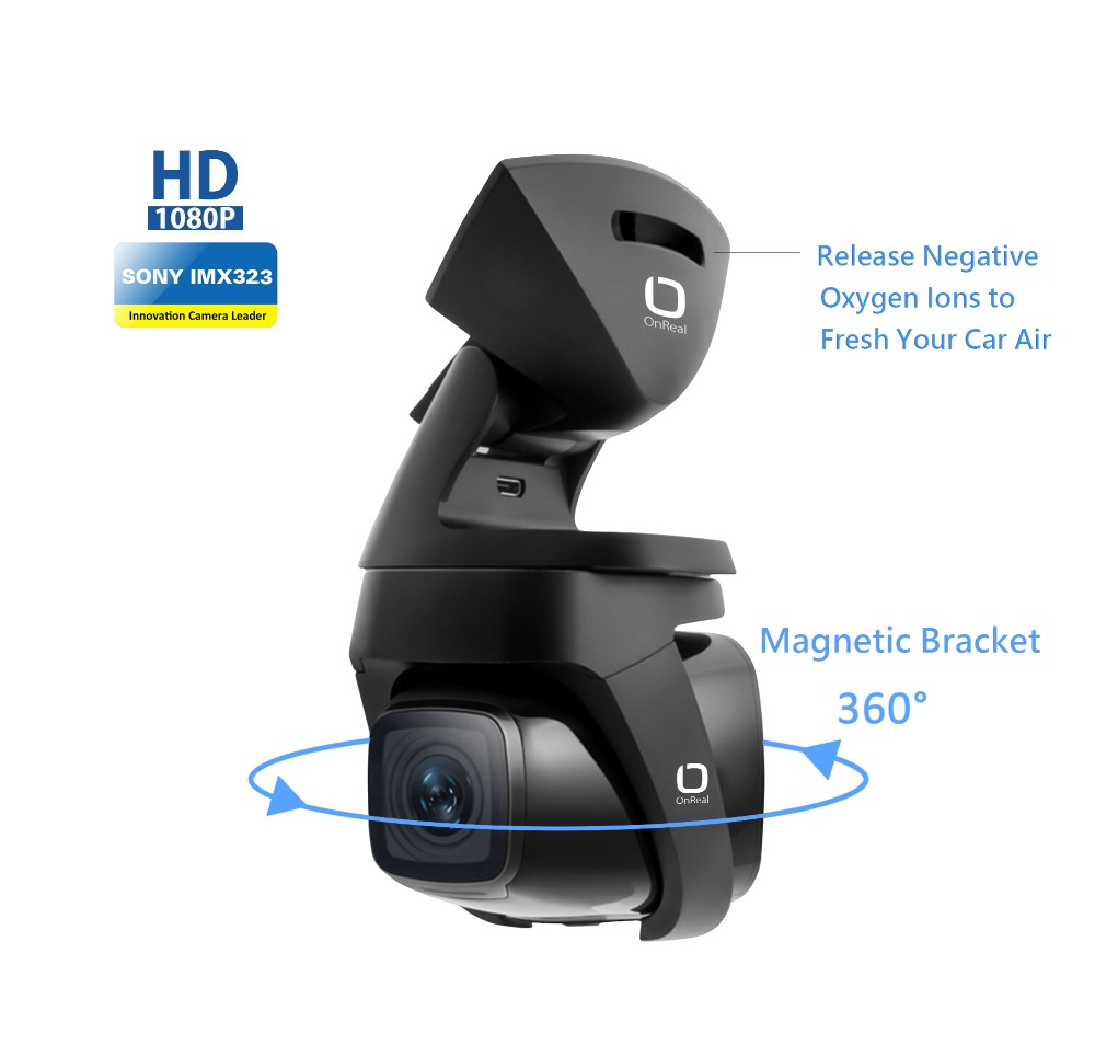 OnReal car DVR dash camera Vehicle Camera FHD1080P with Negative Oxygen Ions Magnet bracket