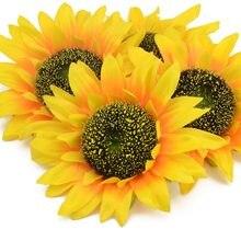 Flores de seda artificiais para scrapbooking, 3 pçs 14cm, cabeça de girassol para faça você mesmo, decoração de casamento, flor falsa barata