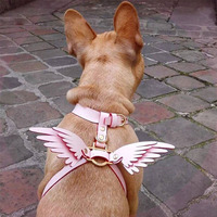Dog Harness for Small Dogs Pink Angel Wings Collar for French Bulldog Harness Leash Set for Chihuahua Yorkshire Walking Leading