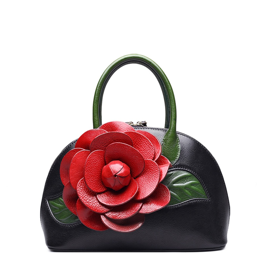 11.11 Super Deal Designer Floral Collection Inspired Ladies Handmade Leather Top Handle Handbags smocked floral cami top