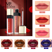 MUSIC ROSE Women Red Matte Liquid Lipstick Glitter Lip Gloss Shimmer Moisturizer Non-stick Cup Tube