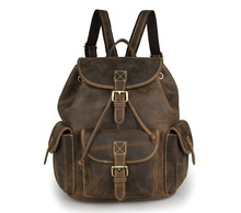 Vintage Crazy Horse Genuine Leather Men Backpacks Women Unisex Casual Day Pack Cowhide Travel School Backpack Brown J7252