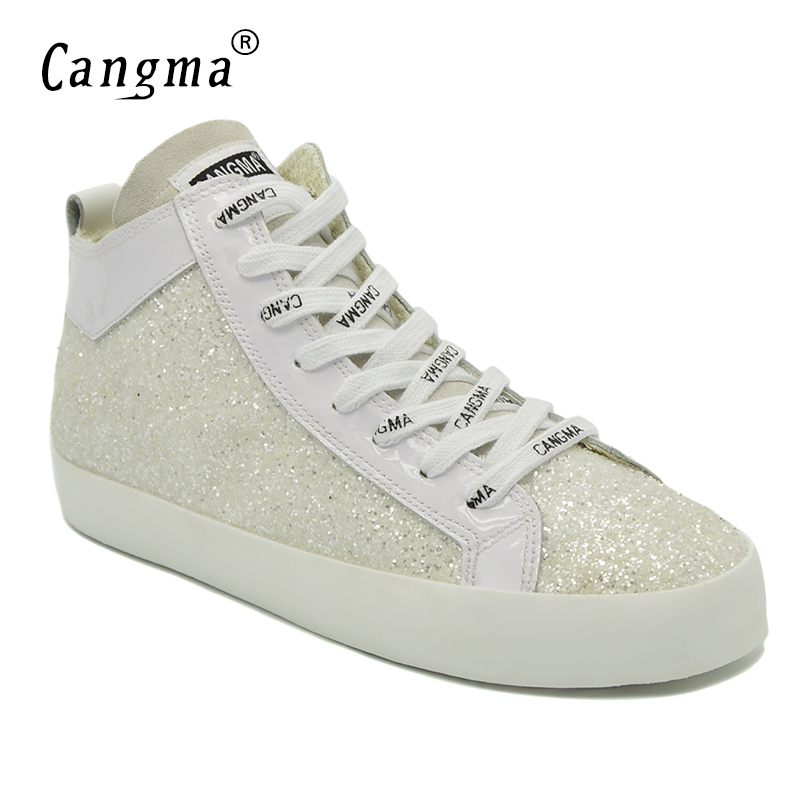 CANGMA Marque Designer Women Paillette Shoes Mid Sequined White Sneakers For Girls Retro Lace Up Casual Shoes Woman