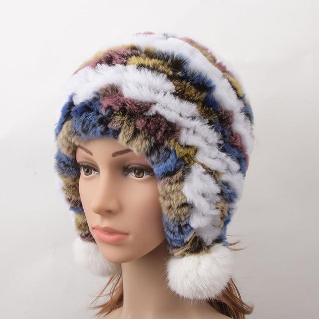 1259a68587498 Women Genuine Knitted Rex Rabbit Fur Hats Russian Hat ushanka Natural  Stripe Rex Rabbit Fur Caps Winter Warm Head Wear