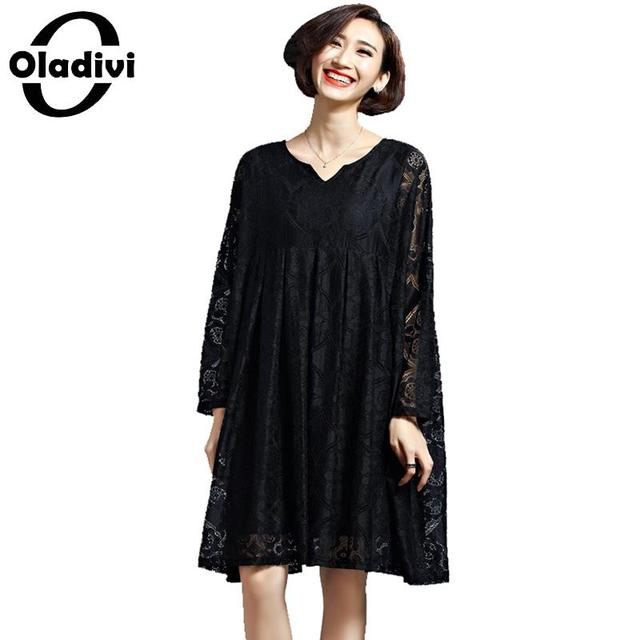 Oladivi 2018 Plus Size Womens Dress Spring New Black Lace Dress