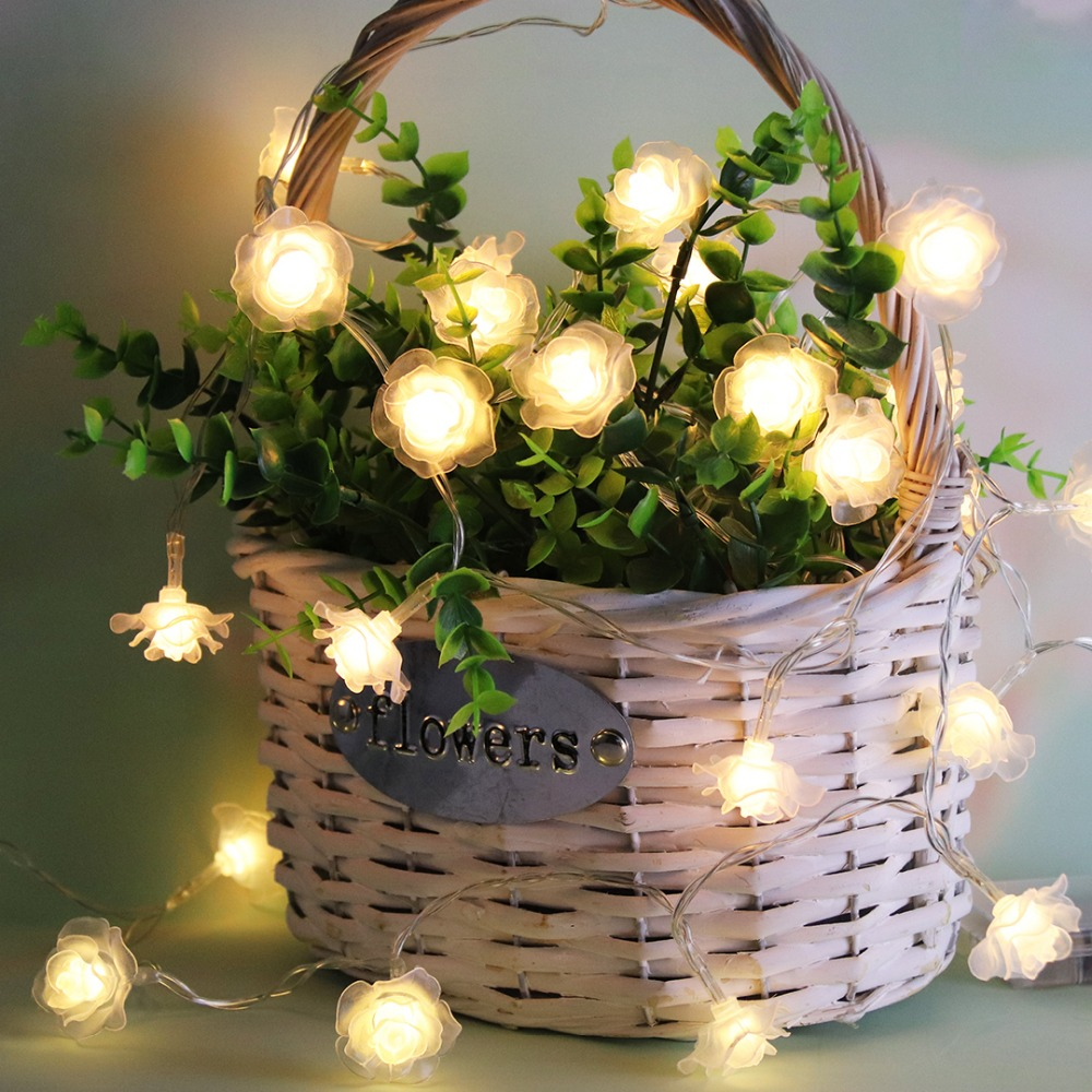1 M-4 M Rose Slingers LED String Lights Night Decoratie Bloemen Licht - Vakantie verlichting - Foto 3
