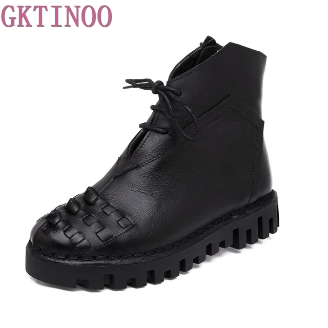 6fb5903af7c47 New Autumn Winter Women Fashion Vintage Genuine Leather Shoes Female  Platform Ankle Boots Woman Lace Up Casual Boots
