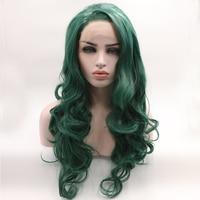 Fantasy Beauty Lace Front Synthetic Wig Wavy Long Dark Green Wig Half Hand Tied Heat Resistant Wig