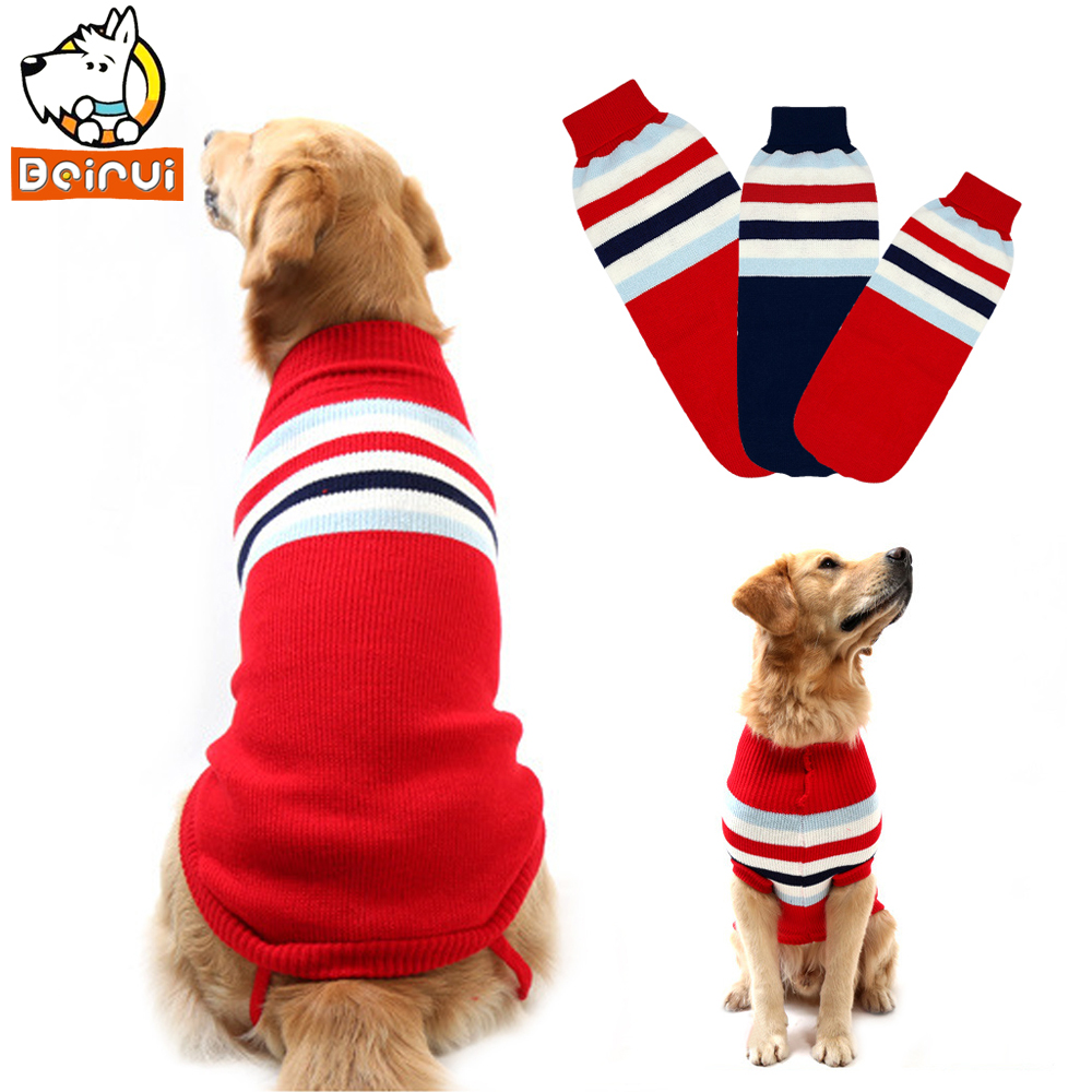Winter Warm Dog Sweater Dogs Cats Clothes Pullover Medium Big Large Pet Coat Clothing Strip Design Turtlenecks Red and Blue