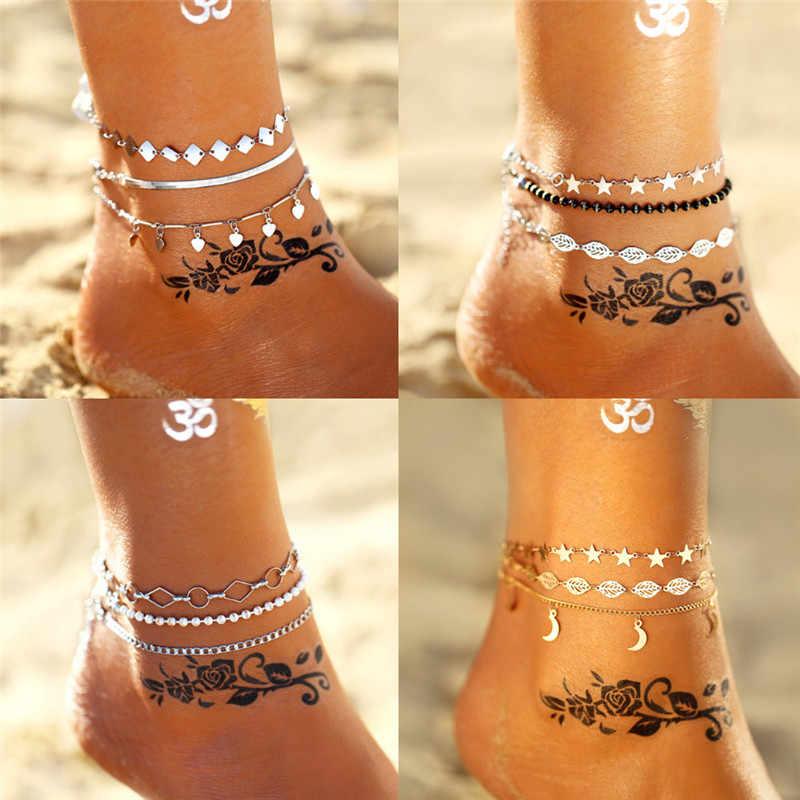 2019 новый мульти Слои ножной браслет Браслеты для Для женщин Винтаж цвет серебристый, Золотой Сердце Звезда ножные браслеты из бисера браслет на ногу пляжные украшения