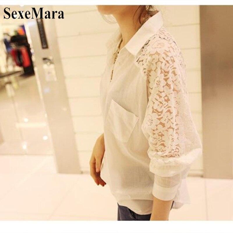 SexeMara 2019 New Spring And Autumn Korean Women's Large Size Lace Stitching Lapel Long Sleeve Chiffon Shirt Black White S-XL (6)