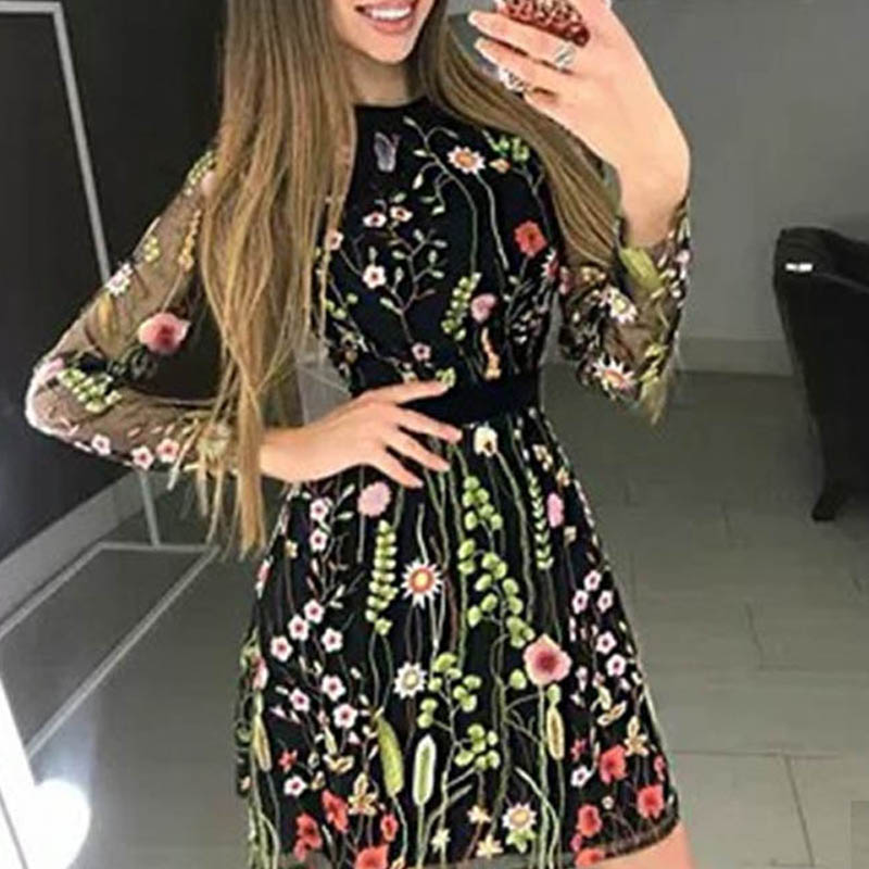 Fanbty 2019 Sexy Women Floral Embroidery Dress Sheer Mesh Summer Boho Mini A-line Dress Lady See-through Party Dresses Vestidos
