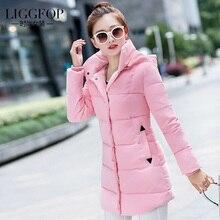 2016 winter jacket women Liggfop gentlewomen wadded jacket female medium-long slim casual women's thin cotton-padded jacket