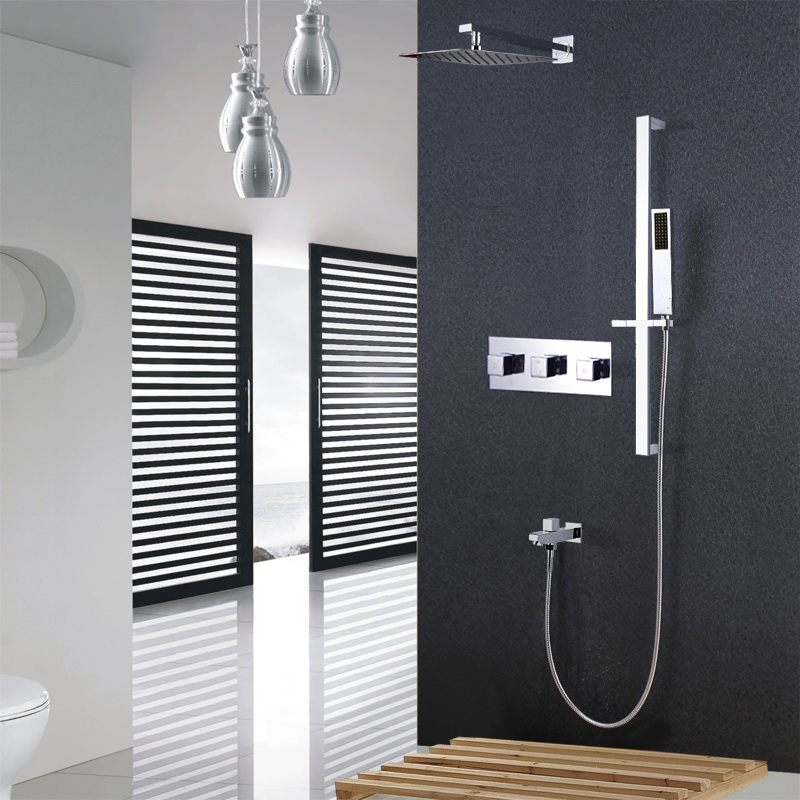 Free shipping Brass Chrome Wall Mounted Shower Faucet 10 stainess steel Shower Head Wate Shower Set with sliding bar SS852