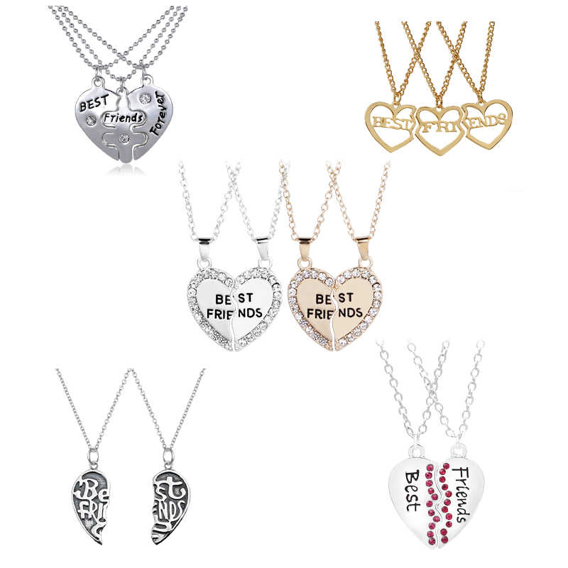 New Hot Heart Broken Style 2-Piece And 3 Parts Pendant Necklace Best Friend Forever Necklace Jewelry Gift For Girl