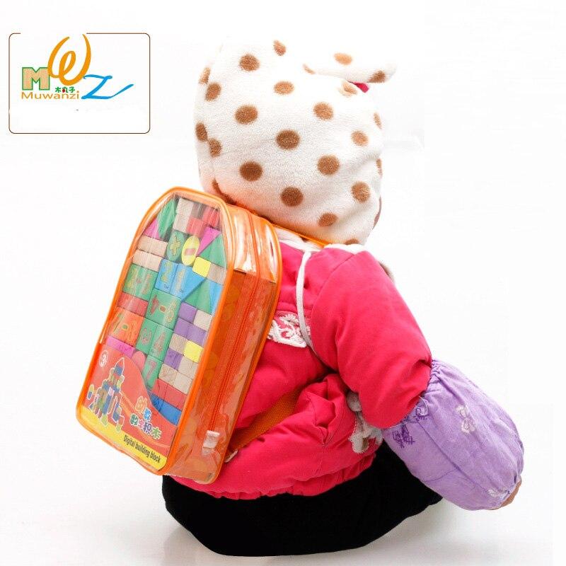 Backpack blocks children's educational toys, Digital building blocks/ Alphabet Kids wooden toy gift