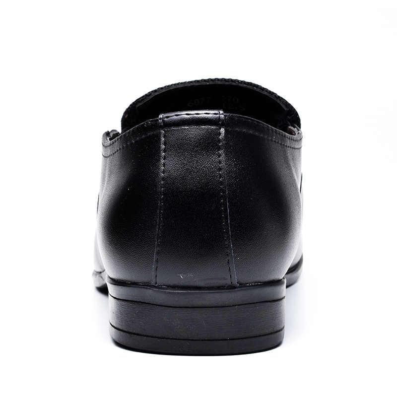 COSIDRAM Üzerinde Kayma Bölünmüş Deri Sivri Burun Erkekler Elbise Ayakkabı Iş Düğün Oxfords Resmi Ayakkabı Erkek 2018 Bahar 47 BRM-021
