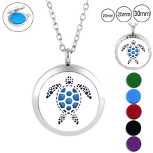 New Design! Sea Turtle shape 30mm Stainless Steel Round Tree of life Aromatherapy Essential Oil Diffuser Perfume Locket Jewelry