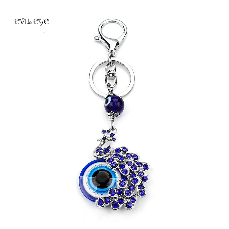 EVIL EYE New Fashion Lucky Blue Crystal Peacock EVIL EYE KeyChain Best Wishes Gift Evil Eye For Woman Man jewelry Pendent image