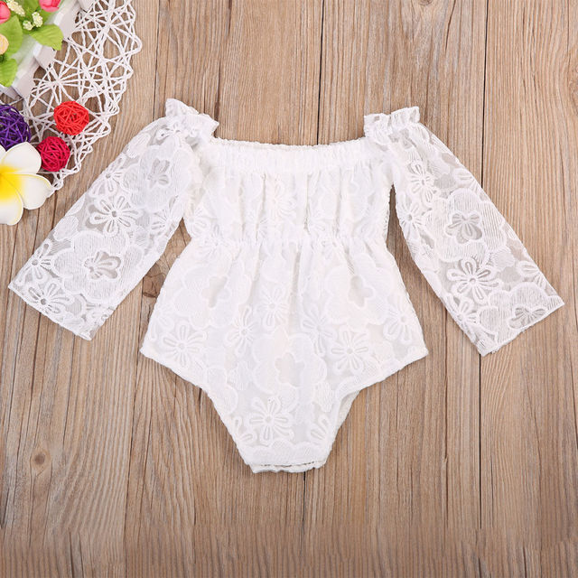 43c08744773c Newborn Toddler Baby Girls White Bodysuit Long Sleeve Jumpsuit One-piece  Outfits Sunsuit Clothes Baby