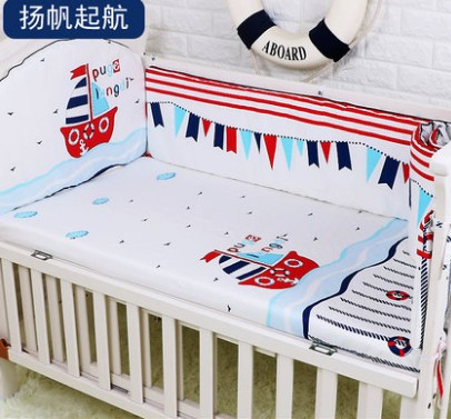 Promotion! 5PCS Baby Bedding Set Whale Baby Boy Crib Bedding Sets Cot Crib Bedding Set Kit Berco ,include:(bumpers+sheet)