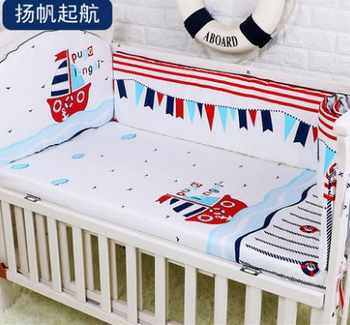 Promotion! 5PCS baby bedding set whale baby boy crib bedding sets Cot Crib Bedding Set kit berco ,include:(bumpers+sheet) - DISCOUNT ITEM  19% OFF All Category