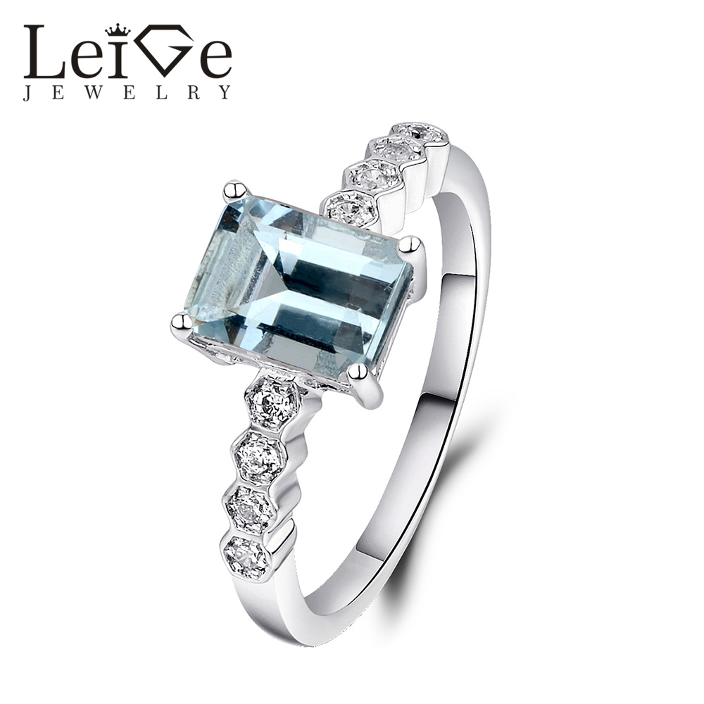 Leige Jewelry Natural Aquamarine Ring Emerald Cut 925 Sterling Silver Rings for Women Wedding Anniversary Gift March Birthstone цена